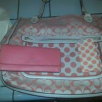 Medium Coach Handbag Peach C With Matching Wallet and Iphone 5 Case J1220-22473 Photo