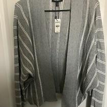 Medium Express Grey Gray White Striped Cardigan Photo