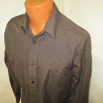 (Medium) Men's Express Dress Shirt Brown Striped Modern Fit Photo