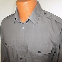 (Medium) Men's Express Dress Shirt Gray Fitted Slim Fit 1mx Photo