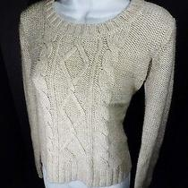 Medium Mossimo Womans Tan Sweater Cable Knit Fisherman M Photo