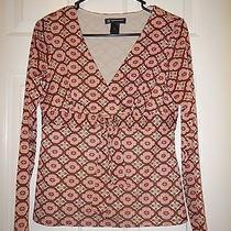 Medium Petite Mp Pm International Concepts Red Brown Blush Pink Nylon L/s Top Photo