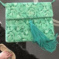 Medium Versace Vintage Tote Shoulder Bag Green Roses Photo
