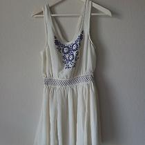 Medium White and Blue Boho Dress in Medium ( M ) Photo