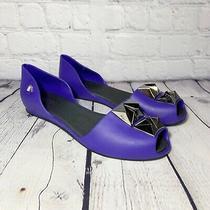 Melissa Fresh Bloom Studded Purple Jelly Flats Sz 6 Photo