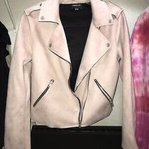 Members Only Womens Biker Jacket Blush Pink Size Small Zip Vegan Suede Pastel Photo