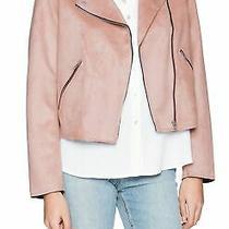 Members Only Womens Biker Jacket Blush Pink Size Xl Zip Vegan Suede 89 134 Photo