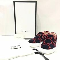 Men 8.5us Gucci Gg Terry Cross Slippon Sneakers Mens Navy Red Shoes 1/2 Box With Photo