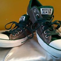 Men All Star Converse Grey and Green Low Tops Sz 10 Photo