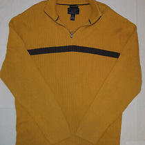 Men American Eagle 1/4 Zip Sweater Xl X Large Vintage Slim Fit Yellow Navy 39 Photo