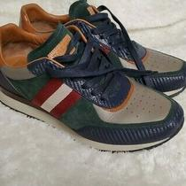 Men Bally Aston Suede & Leather Runner Sneaker Red / Navy / Green Size 8.5 Photo