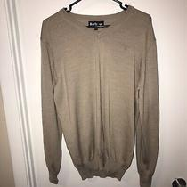 Men Barbour Long Sleeve Sweater Merino Wool L Large Pullover Safari Beige v Neck Photo