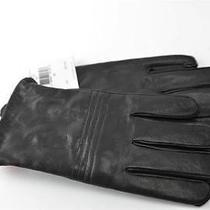 Men Calvin Klein Black Ck A1 Lined Leather Driving Gloves Sz M Touchscreen Photo