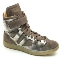 Men Diesel Black & Gold Positive Mid Cut Sneaker 41 / 8.5 Metallic Leather Shoes Photo