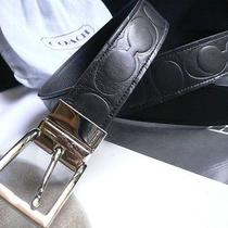 Men Gentlemen Coach Pattern Belt Black Reversible Casual Leather One Size Photo