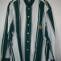 Men Guess Green & White Striped Dress Shirt L Large 16 Neck Photo