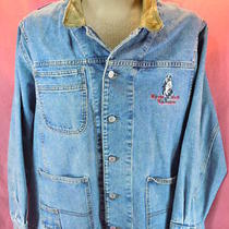 Men Gvc Vtg Guess Marciano Leather Trim Denim Usa Button Up Barn  Jean Jacket M Photo