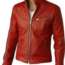 Men Leather Bomber Biker Jacket by Biker Leather Jacket Lamb Leather Photo