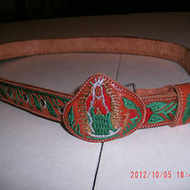 Men or Women Leather Belt Christian Embroidery Angel Rose Mother Teresa Men New Photo