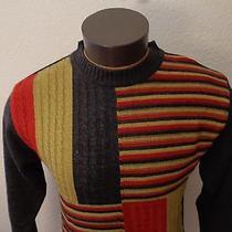 Men Ray Ban Gray Multi-Color Sweater 100% Wool Crewneck Geometric Medium M New Photo