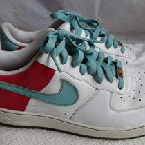 Men's 13 Nike 2007 Air Force 1 Af-1 Le 315122-141 White Aqua Gold Pink Sneakers Photo