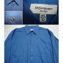 Men's 16 1/2-32/33 Yves Saint Laurent Cotton/poly Blue L/s Dress Shirt