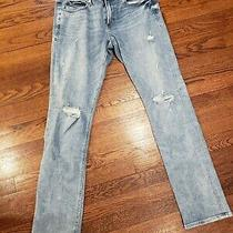 Men's 34w X 34l   Express  Slim Straight Stretch Denim Blue Jeans Photo