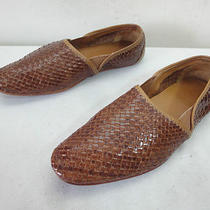Men's 42 9 H by Hudson Woven Brown Leather Loafers Casual Slip on Moccasin Shoes Photo