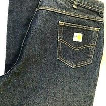Men's 44x34 Carhartt Flame Resistant Work Blue Jeans Denim Pant's Photo