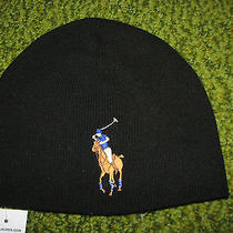 Men's 52. Polo-Ralph Lauren Black Knit Lambs Wool Skull/ Beenie Big Pony Hat Photo