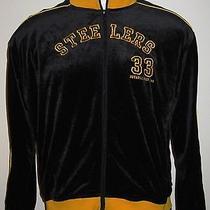 Mens 90s Era Reebok Nfl Steelers Velour Jacket - Size Xl - Black Gold Trim Photo