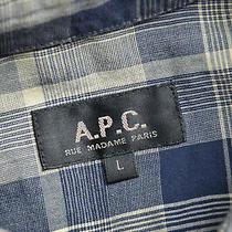 Mens a.p.c. Short Sleeve Grey Shirt Blue Check Size Large P-P 21.5