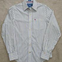 Men's Abercrombie & Fitch White Blue Dress Shirt Small Photo