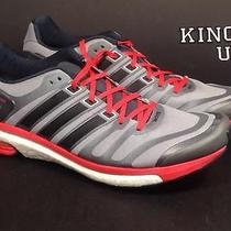 Men's Adidas Adistar Boost  Running Athletic Shoes Grey Red Size 13 Photo