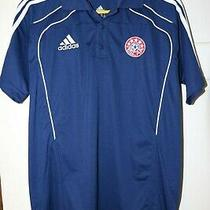 Men's Adidas Condivo Polo Medium Navy White Climalite Nscaa Soccer Coach Nwt Photo