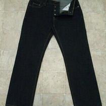 Men's Aeropostale Size 32x30 Button Fly Straight Dark Denim Blue Jeans Mea 35x30 Photo