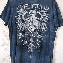 Men's Affliction Blue Angry Griffin Shirt Large Photo