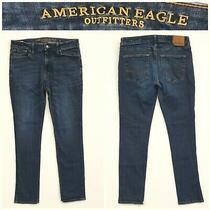 Men's American Eagle Size 34 X 34 Flex Slim Dark Blue Jeans 15a9 Photo