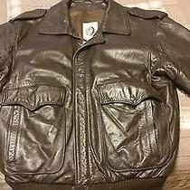 Men's American Express Brown Leather Flight Bomber Jacket 44  Great Condition  Photo