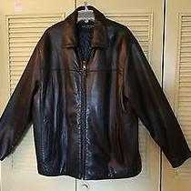 Men's Andrew Marc Black Leather Insulated Jacket Xl Excellent Photo