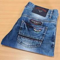 Men's Armani Jeans Milan Denim Shorts Blue Zip Fly Size 34 Waist 36
