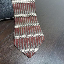 Men's Art Deco Guess Designer Necktie - Burgundy Cream Gray and Black Photo