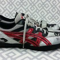 Men's Asics Gn808 Speva Rhyno Skin Lace Up Athletic Shoes Sz 11 Red Silver Gray Photo