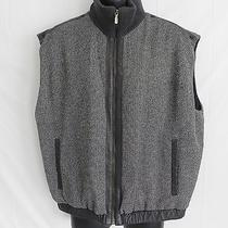Men's Bally Vest Size 42 Gray Tweed 100% Wool Leather Trimming  Insulated Italy Photo