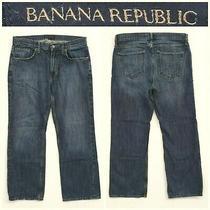 Men's Banana Republic Size 34 X 30 Straight Leg Dark Blue Jeans 15a8 Photo