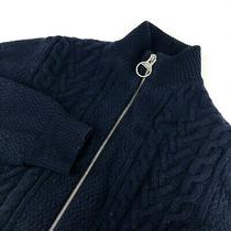 Men's Barbour Cable Knit Zip Jumper Cardigan Navy Wool Italy Jacket Pullover - M Photo