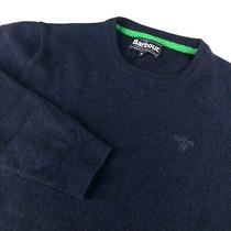 Men's Barbour Jumper Sweater Casual Navy Wool Pullover Size - M Photo
