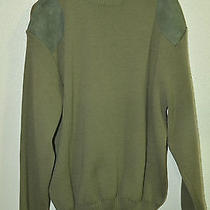 Men's Barbour Pure New Wool and Suede Trim Sweater Made in England  Photo