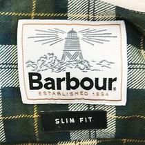 Men's Barbour Shirt Long Sleeve Classic Green / White Size - L Photo