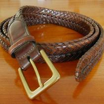 Men's Belt Brighton Brown Woven Brass Sz 48 Xxl - Xxxl Photo
